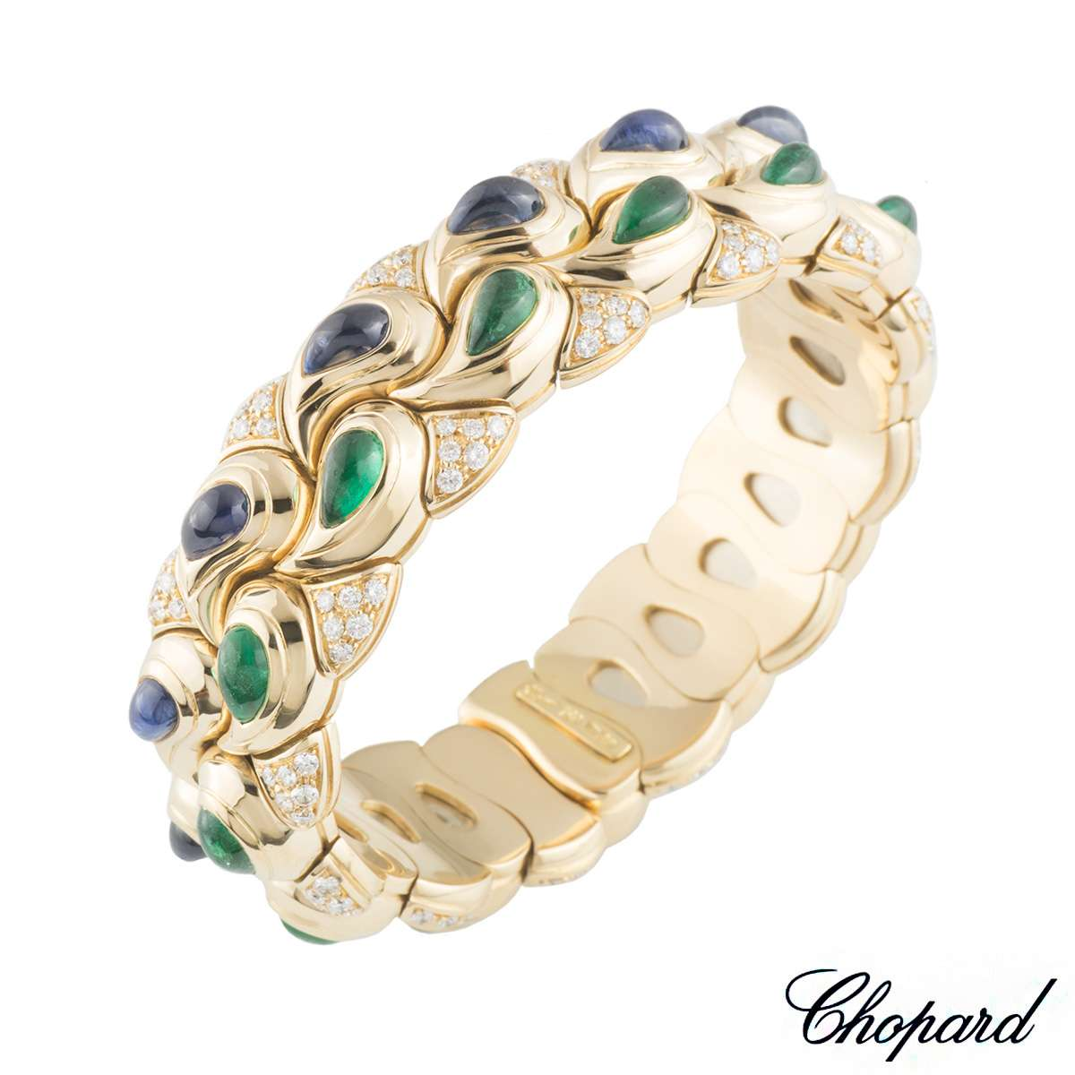 Chopard Diamond, Emerald and Sapphire Casmir Bangle